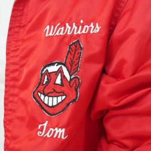 Vintage Jackets & Coats - ‼️$20 SALE‼️ VTG Red Satin Jacket Warrior/Indians